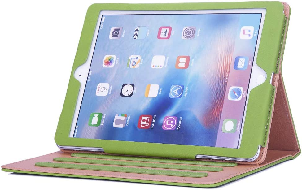 I4Ucase Apple iPad 9.7 Inch 2017/2018 (5th/6th Generation) Case - Soft Leather Stand Folio Case Cover for iPad 9.7 Inch, with Multiple Viewing Angles, Auto Sleep/Wake, Document Pocket (Green)