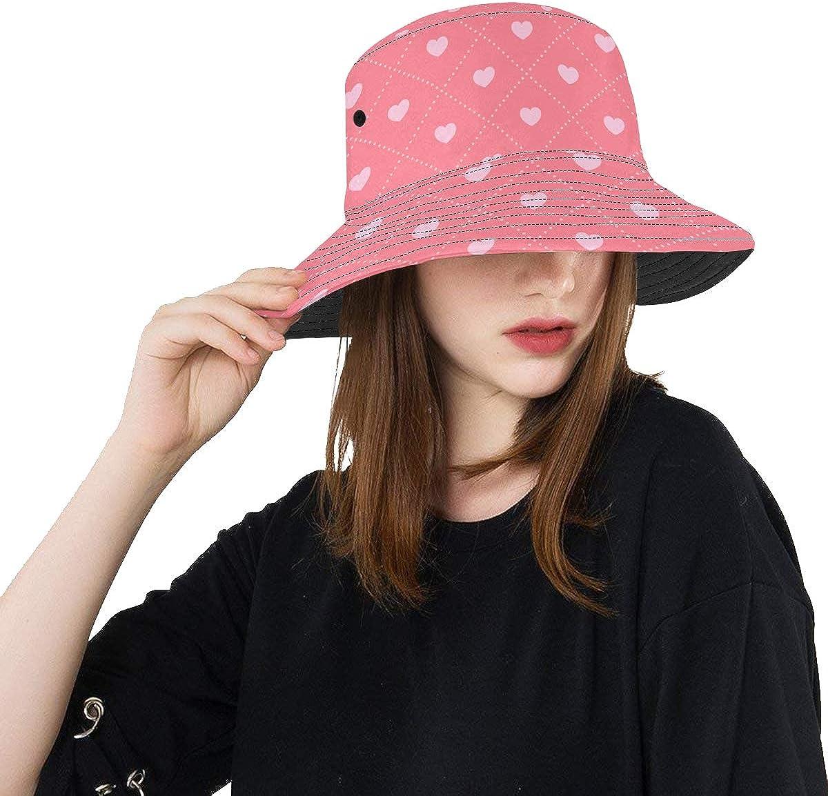 Love Shape Heart Summer Unisex Fishing Sun Top Bucket Hats for Kid Teens Women and Men with Packable Fisherman Cap for Outdoor Baseball Sport Picnic