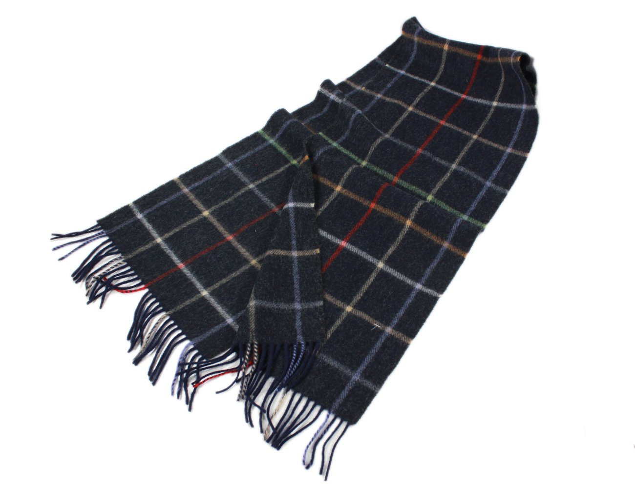 "Irish Wool Scarf Lambswool Navy Plaid 63"" x 12"" Made in Ireland"