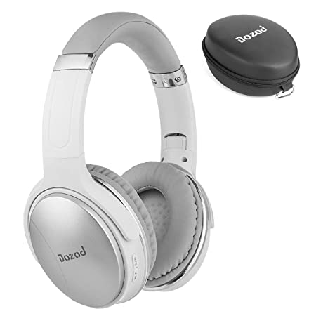 Bluetooth Over Ear Headphones, Dozod Hi-Fi Stereo Wireless Headset with Microphone, Foldable Bluetooth Wired Headphones for TV PC Cell Phones Travel – Silver White