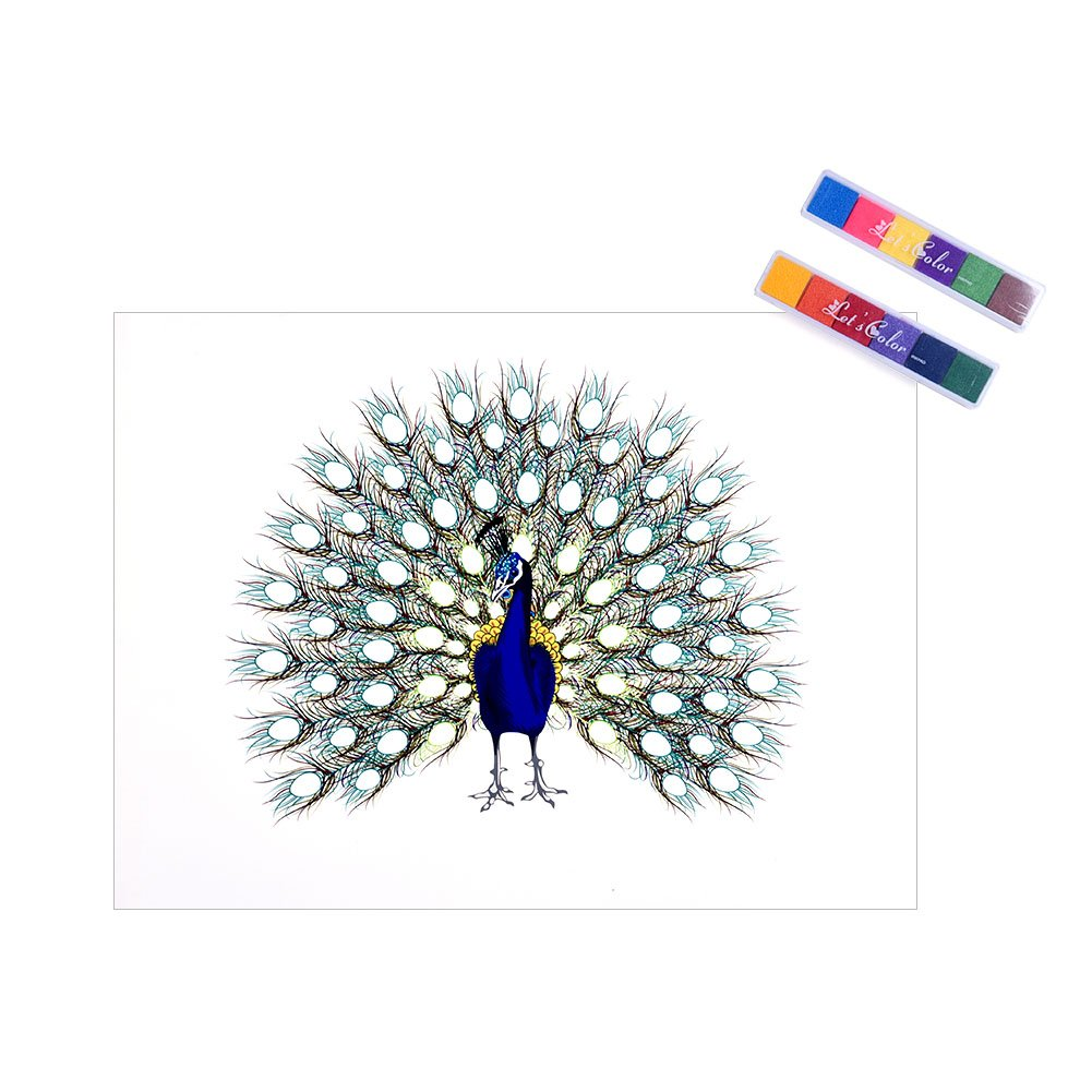 SHZONS Fingerprint Peacock Creative Guest Book Personalize Fingerprint Tree for Wedding Baby Shower Birthday Party Home Decoration by SHZONS