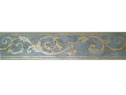 Pareti Azzurro E Oro : Fascia bordo pareti soffitti vinilica fondo blu azzurro e damasco