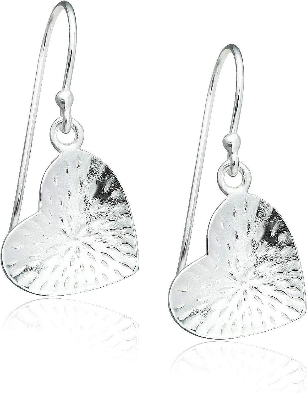 Beadwork Satin Heart Earrings Sterling Silver Hooks