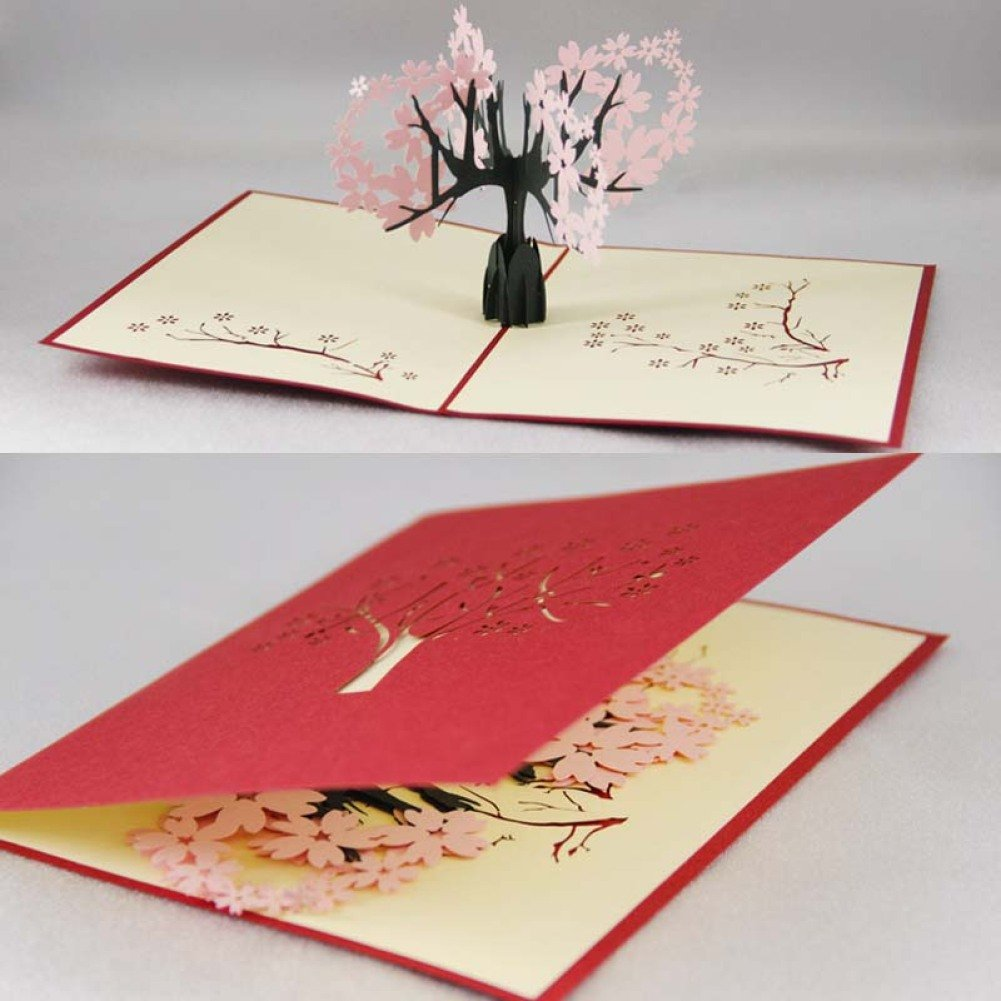 BENHAI Creative Gifts 3D Pop Up Card Greeting and Gift Lover Cards Cherry Tree with Handmade