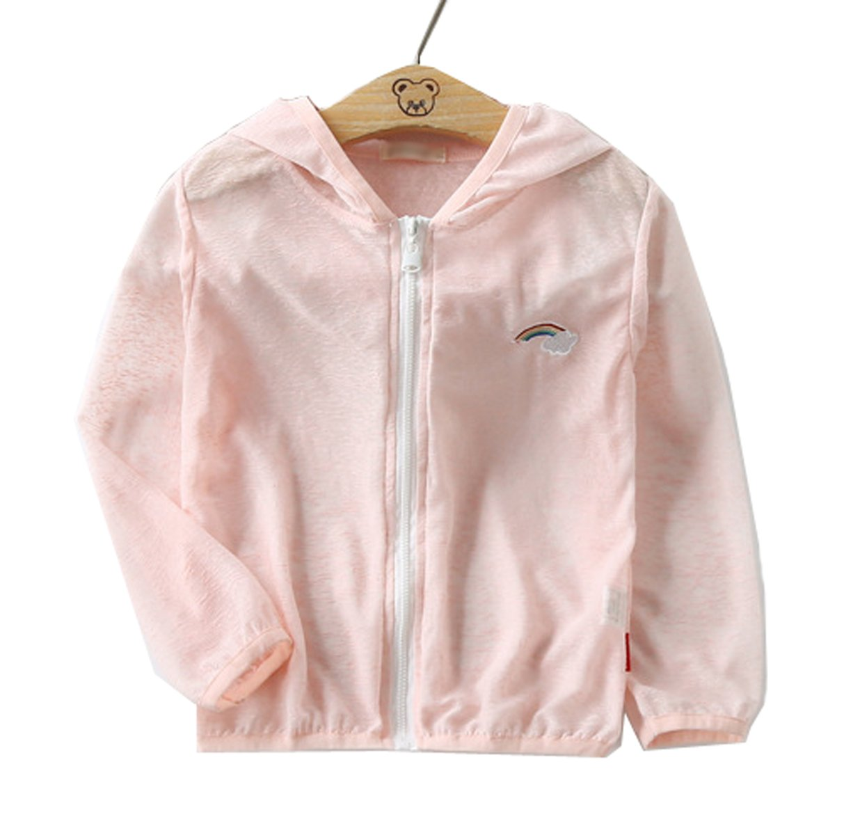 Qinni-shop Little Girls Boys Hooded Lightweight Long Sleeve Summer Jacket (Pink, 2T)