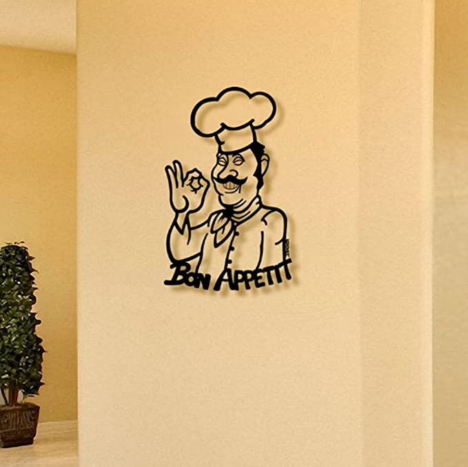 Ced454sy Bon Appetit Kitchen Sign Metal Wall Art with French Chef Bon Appetit Sign Dining Room Decor Metal Art with Eating Theme Kitchen Decor
