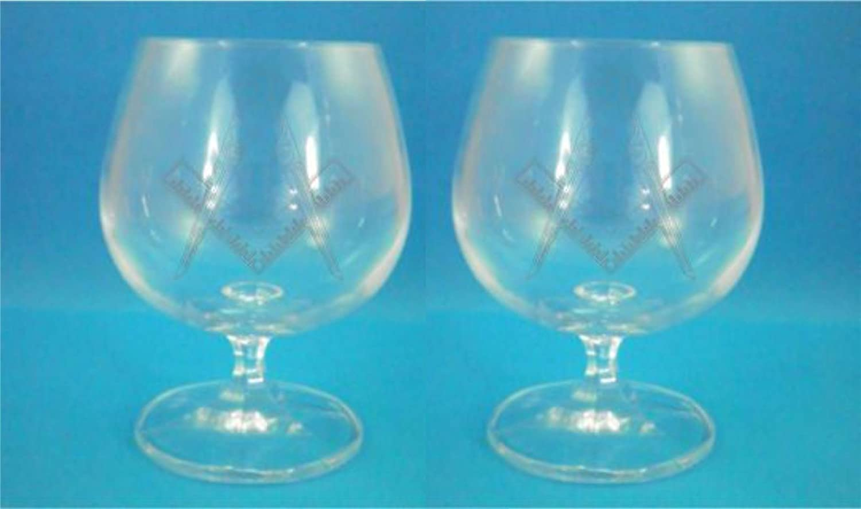 Pair of Bohemia Crystal Brandy Glasses With Masonic Emblem Design with presentation box