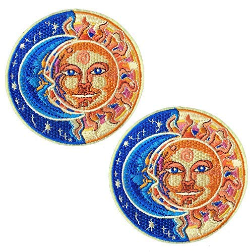 2 Pcs Delicate Embroidered Patches, Moon&Sun Patches, Iron On Patches, Sew On Applique Patch, Cool Patches for Men, Women, Boys, Girls, Kids