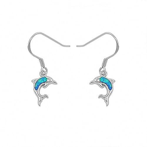 f9a8c03f0 Dangling Dolphin Fish Hook Created Blue Opal Earrings 925 Sterling Silver