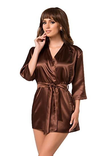 7cd4314a77 Sexy Chocolate Brown Satin Dressing Gown 3 4 Sleeves Waist Belt Nightwear  Slips Robe 8