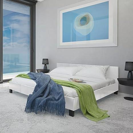 WEILANDEAL Cama con colchon de Cuero Artificial Blanca 180x200 cm Camas Altura de Las Patas: