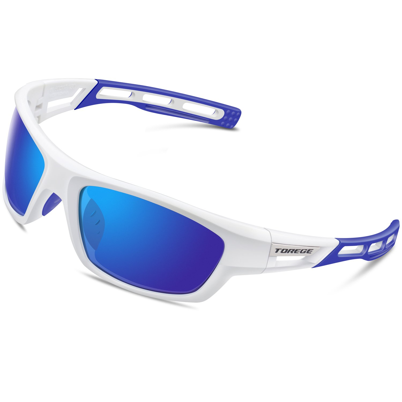 TOREGE Polarized Sports Sunglasses for Men Women Cycling Running Driving Fishing Golf Baseball Glasses EMS-TR90 Unbreakable Frame TR007 (White&Blue&Blue lens)