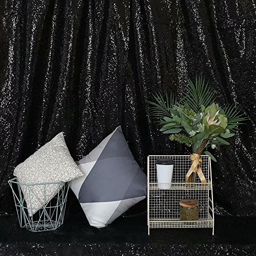 GFCC Sequin Backdrops Black Sequin Curtains Sequin Fabric for Wedding/Party/Birthday-20ftx10ft by GFCC (Image #2)
