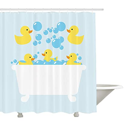 Yeuss Duckies Shower Curtain By Yellow Rubber Poultry Toys Inside A Tub Abstract Cartoon Style