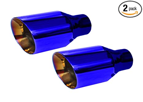 NETAMI NT-2579 Blue Burnt 2.5 Inlet//4 Outlet Double Wall Stainless Steel Exhaust Tip