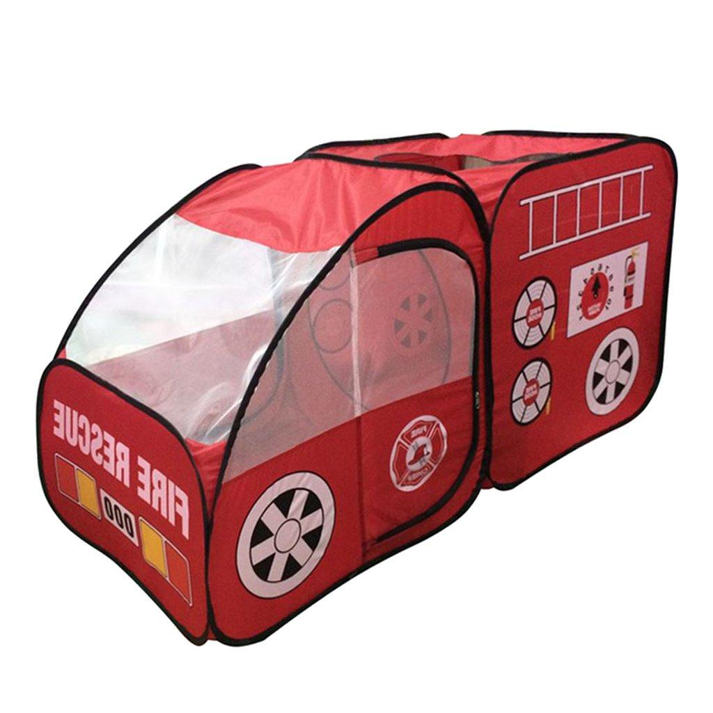 JiliオンラインFire Truck形状キッズ子供再生テントPop Up Playhouseホームインドアガーデンアウトドアおもちゃアクティビティ B078XTF6VF