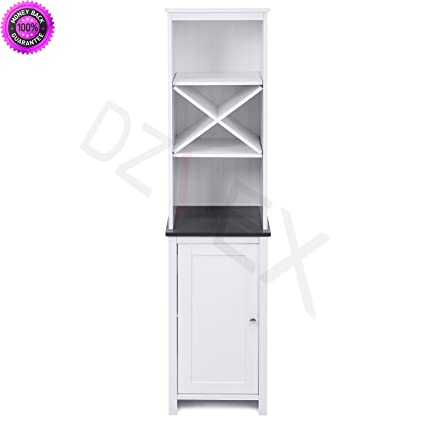 Amazon.com: DzVeX Bathroom Floor Tower Storage Cabinet (White) And ...