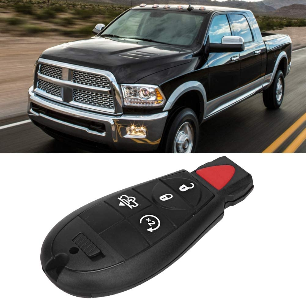 Cuque GQ4-53T 5 Button Keyless Entry Remote Control Car Key 433 MHz Fit for Dodge Ram 2013 2014 2015 2016 2017 GQ453T Remote Control Transmitter Black Color