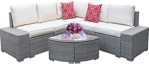 I-Choice 6 Pieces Patio Furniture Set Outdoor Sectional Sofa All-Weather Outdoor Furniture Set PE Rattan Wicker Patio Sofa Set Patio Conversation Set