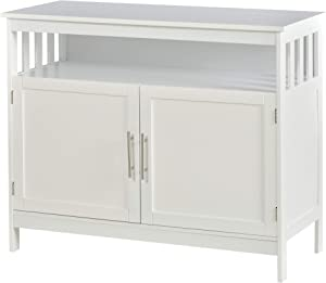 HOMCOM Kitchen Console Table, Buffet Sideboard, Wooden Storage Table with 2-Level Cabinet and Open Space, White