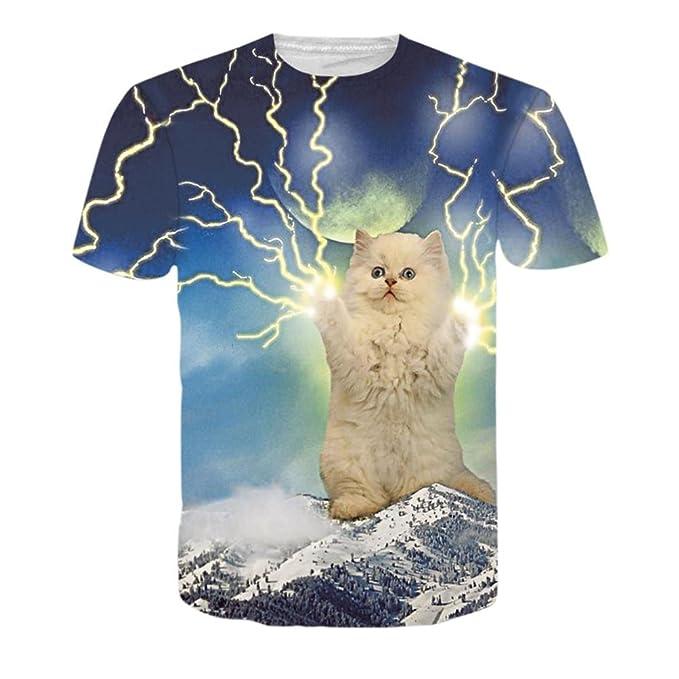 Yannerr Hombre Verano Camiseta Chicos 3D Estampado Impreso Gato relámpago  Stars Cielo Moda Tendencia Jersey Manga 0c112486bedda