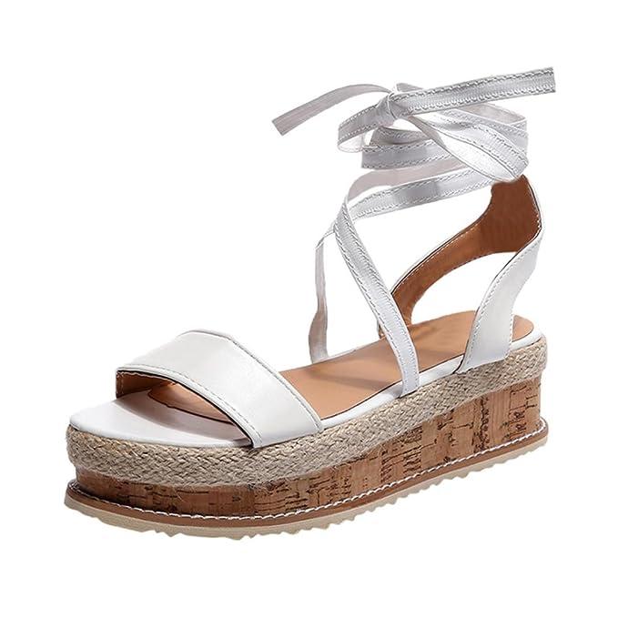 Sandalias para Mujer, RETUROM 2018 Las Mujeres de Las Mujeres Zapatos Romanos Plataforma Tejida Gruesas