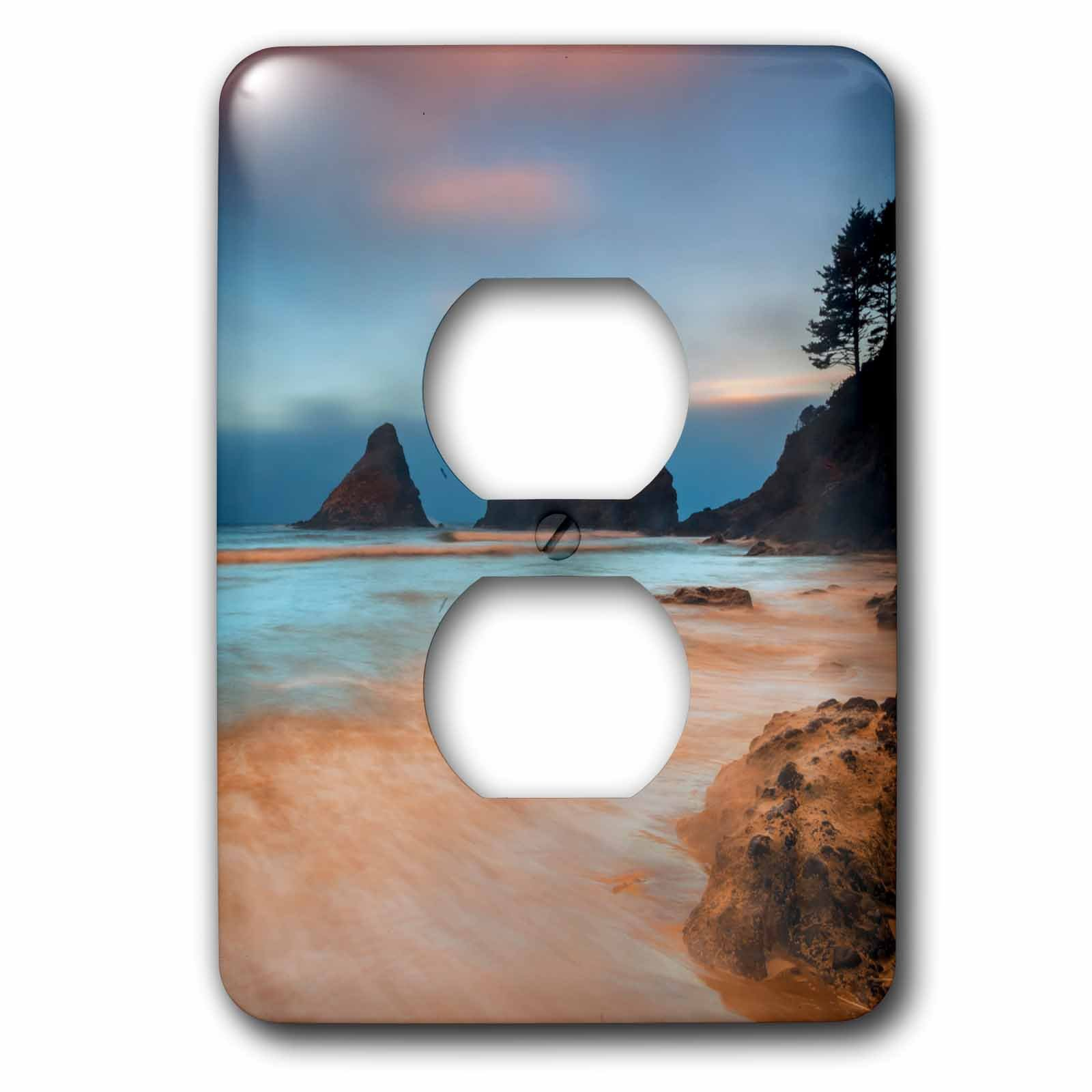 3dRose Danita Delimont - Beaches - USA, Oregon, Florence. Sunrise on Heceta Beach. - Light Switch Covers - 2 plug outlet cover (lsp_279278_6) by 3dRose
