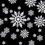 Hestya 50 Pieces Plastic White Snowflakes Ornaments for Christmas Decoration, Assorted Sizes (White, 1, 2, 3, 4, 5, 6 Inches)