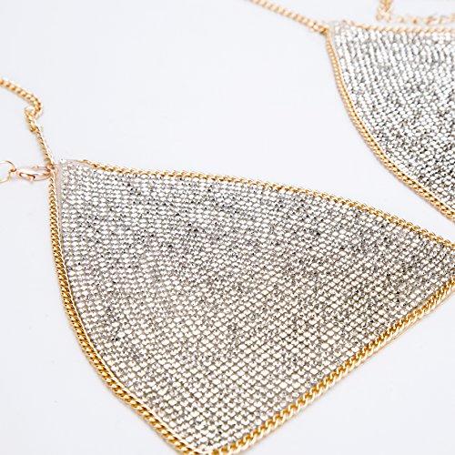 lan27 Sexy Women Nightclub Bling Crystal Bra Party Body Jewelry Bikini Beach Harness Slave Gold Color Necklace Bra by lan27 (Image #4)