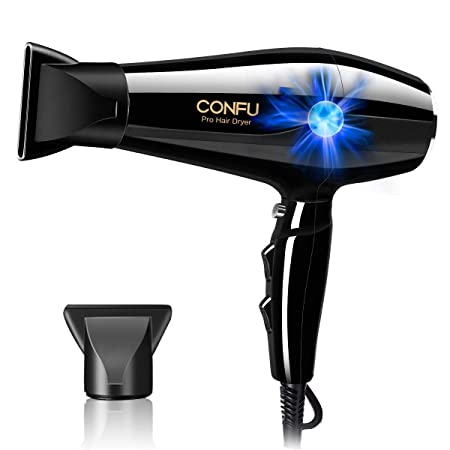 CONFU Professional Hair Dryer 1875W Ionic Blow Dryer with AC Motor 2 Speed 3 Heat Settings Cool Shot Button Lightweight Fast Dry with 2 Concentrator Black