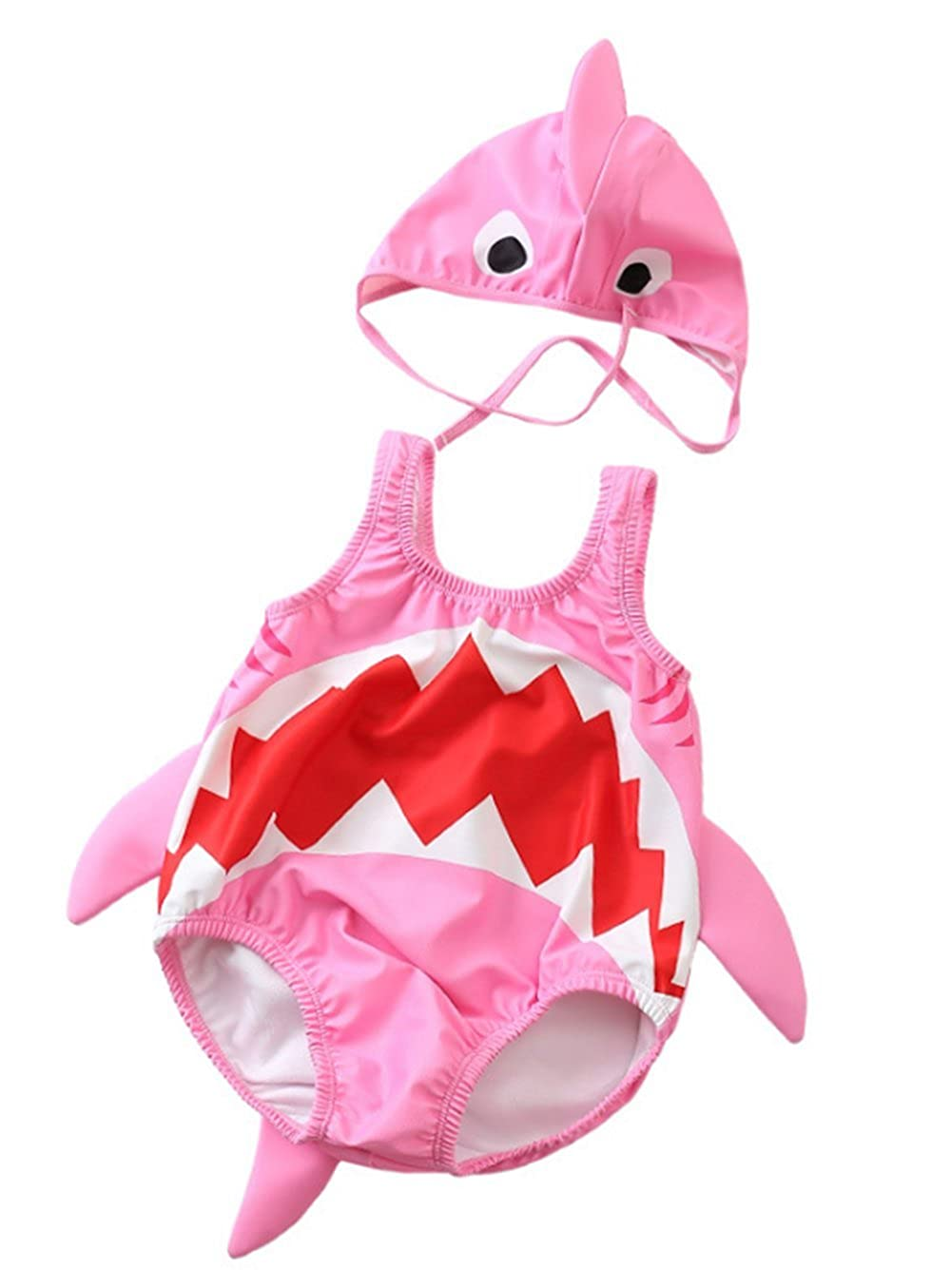 Kids Baby Boys Girls 3D Cartoon Shark One-Piece Swimsuit Bodysuit Bathing Suit with Cap BANGELY Z1859