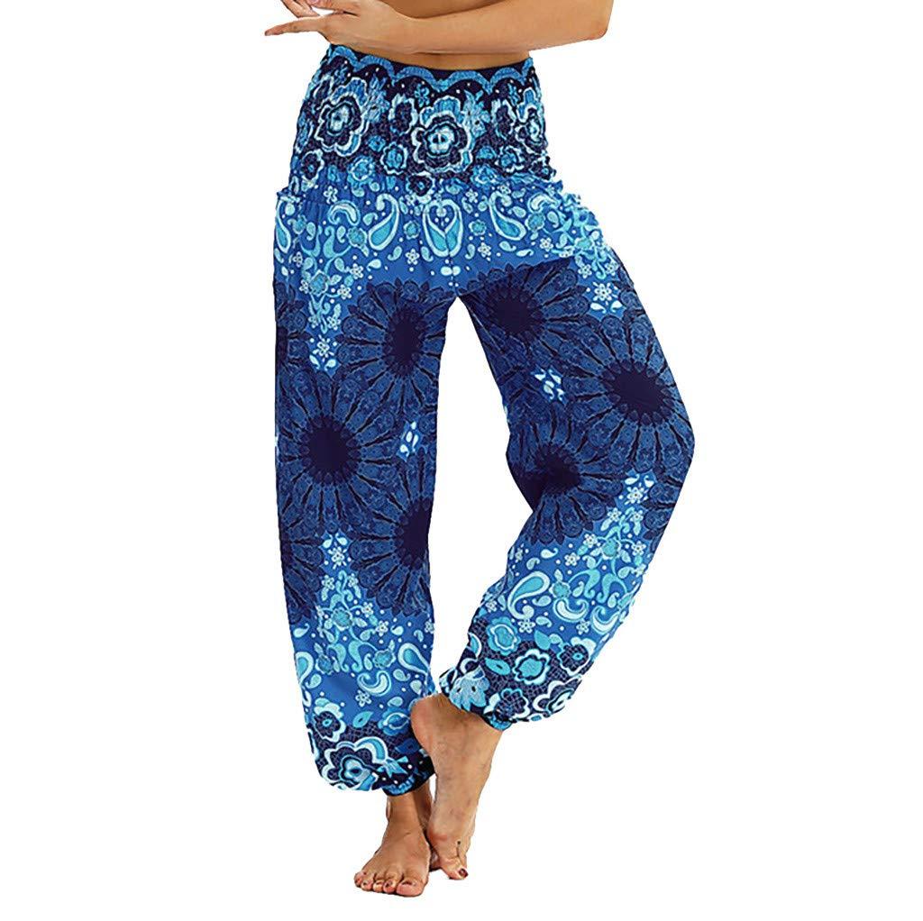 Hattfart Yoga Pants, Unisex High Waist Yoga Pants Thai Harem Loose Trousers Boho Festival Hippy Smock Lantern Pants (M, Blue)