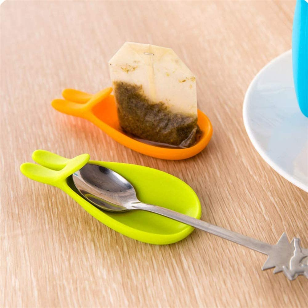 DDU VANKER Rabbit Shape Tea Bag Holder Silicone Cup Hanger Cute Soft Non-toxic for Home 1pc Green