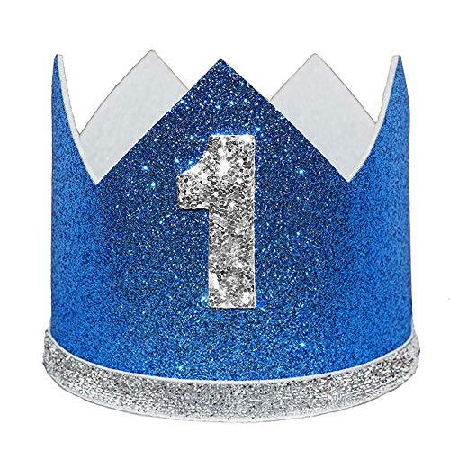 Maticr Glitter Baby Boy First Birthday Crown Number 1 Headband Little Prince Princess Cake Smash Photo Prop (Large Royal Silver 1) -