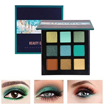 ... Beauty Glazed Pressed Powder Eyeshadow Palette 9 Color Diamond Glitter  Metallic Eye Makeup Matte Shimmer High Pigment Professional Mini Party Eye  Shadow ... 4d2945af412f