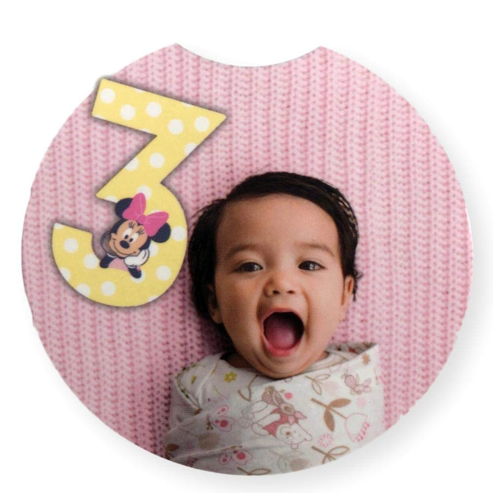 Disney Baby Milestone Month Girls Minnie Mouse Jumbo Newborn to 12 Months First Year Number Set for Taking Pictures Facebook Baby Album Scrapbook Memory Books