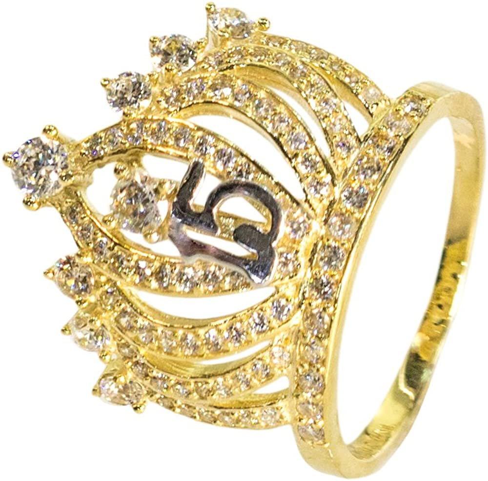 6 IcedJewels 2.05 cttw Round CZ 10K Yellow Gold 7 Pointed Crown Ring