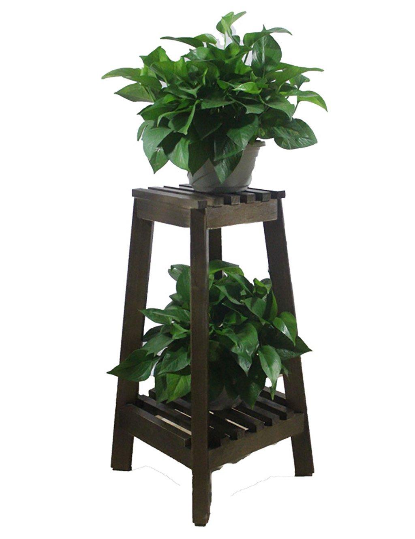 Blumenregal Holzboden-zweistöckiges Blumentopfgestell Im europäischen Stil einfache Indoor-und Outdoor-Objekte Pflanze Bonsai Regale
