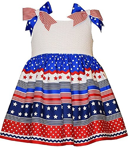 Bonnie Jean Baby Girls Seersucker Red White Blue Americana Dress, Roy, 24M Bonnie Jean Bodice Jeans
