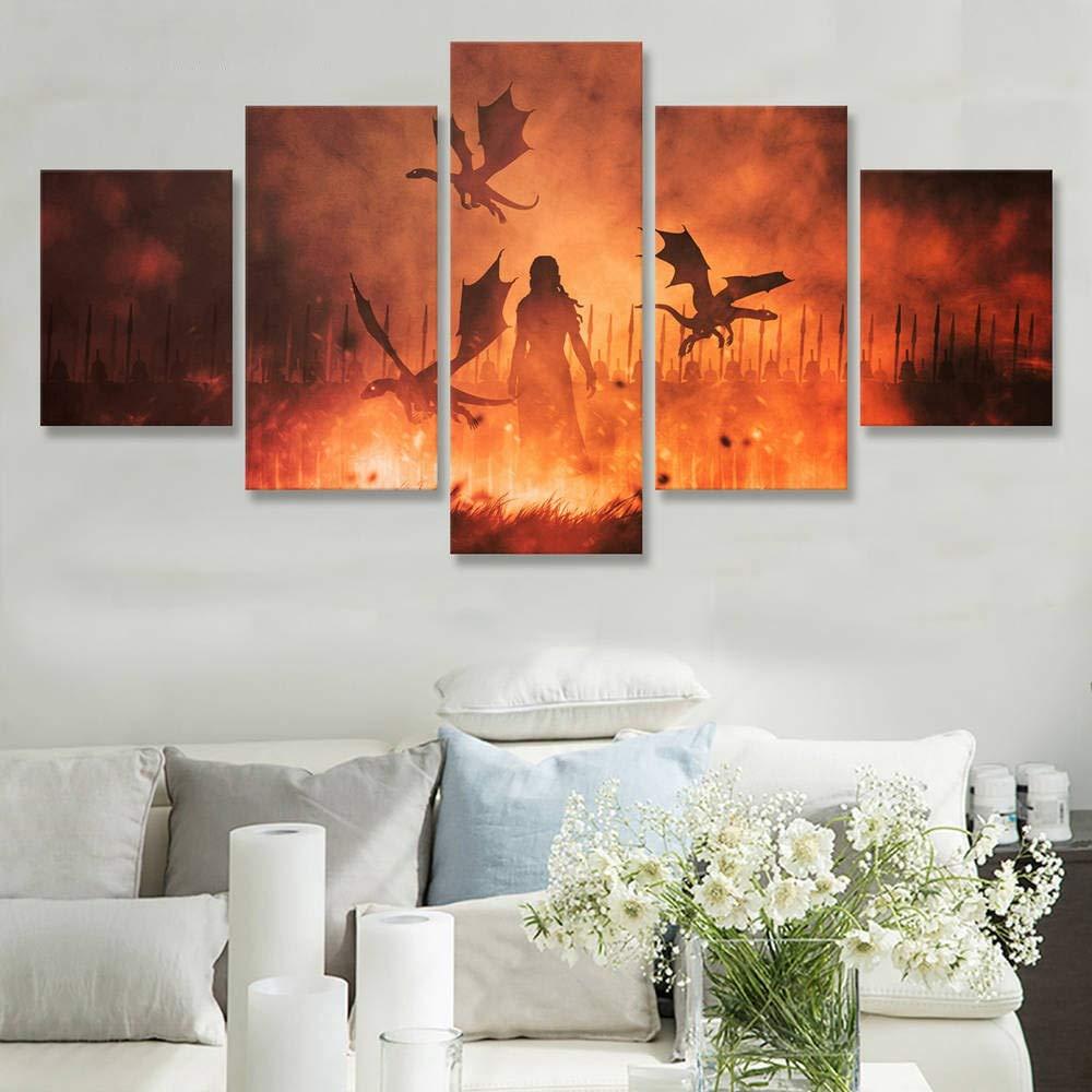 Impresiones Im/ágenes Arte de la Pared Pintura de la Lona 5 Panel Juego de Tronos Daenerys Targaryen Decoraci/ón del hogar a estrenar Modular TV Poster Im/ágenes Enmarcadas-Frame
