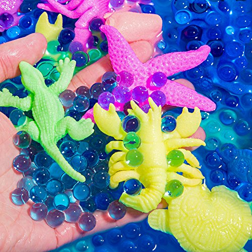 Water Set Fun (PROLOSO Water Growing Sea Creatures Animals & Water Beads Set | 30Pack + 10000Pcs | Expandable Oceanic Animals Fun in The Bathtub | Educational & Learning Toy Toddlers Children Boys & Girls Gift)