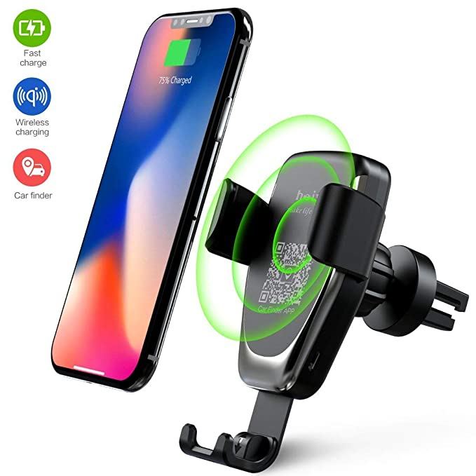 d3dfafe49d0be1 Wireless Car Charger Phone Mount, 2 in 1 Car Air Vent & Dashboard Universal  Phone