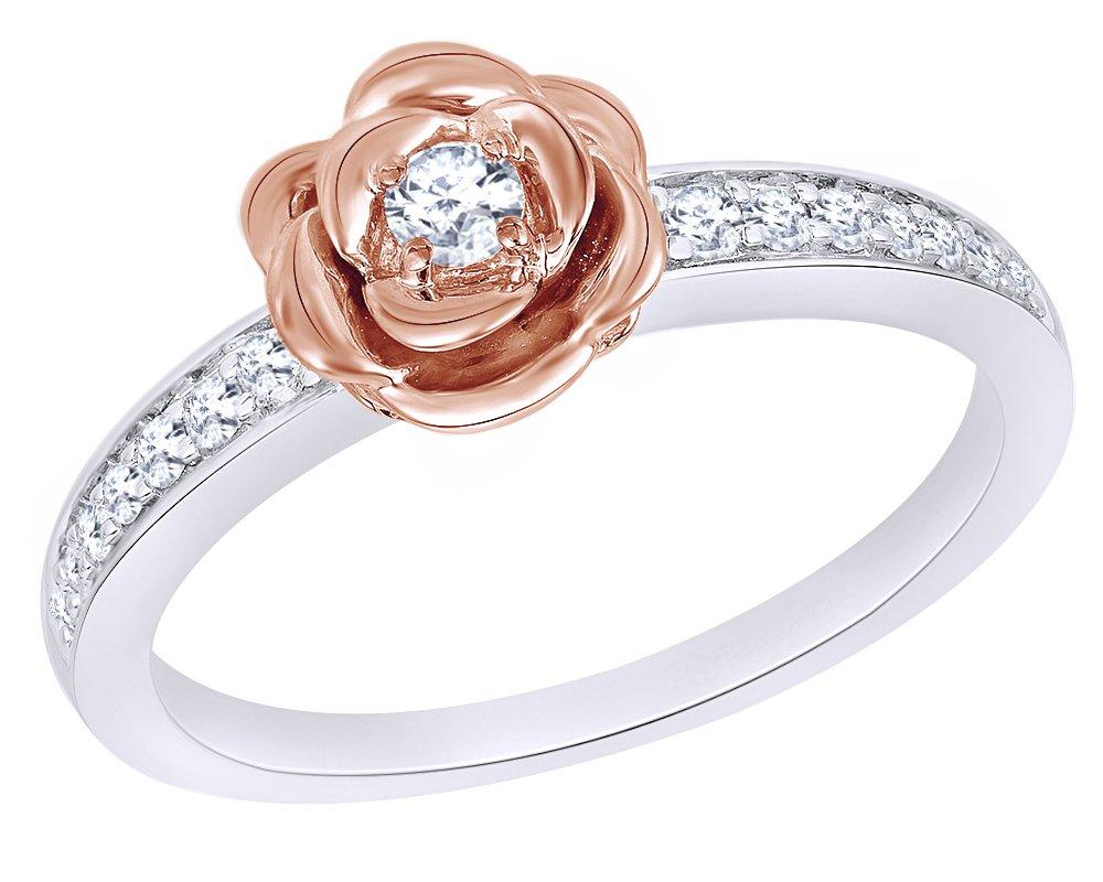 Wishrocks 0.2 Ct Diamond Rose Belle Ring in 14K White Gold Over Sterling Silver