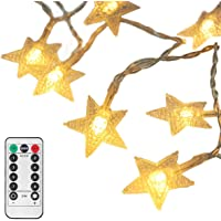 [Upgraded Version] 16 Feet 50 LED Christmas Star LED String Lights with Remote & Timer Battery Operated Fairy String…