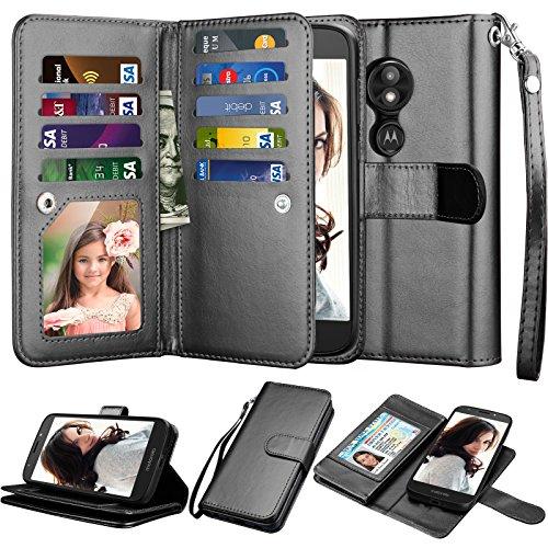 njjex Mote E5 Play Wallet Case, Motorola Moto E5 Cruise/Moto E5 GO 5.2 Case, [9 Card Slots] PU Leather ID Credit Folio Flip Cover [Detachable][Kickstand] Magnetic Phone Case & Wrist Strap - Black