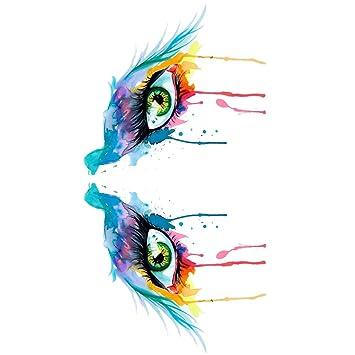 307a69591454b Amazon.com : WYUEN 5 Sheets Watercolor Eyes Women Body Art Tattoo Sticker  For Men Fake Waterproof Temporary Tattoo New Designs 10.5X6cm FB-002 :  Beauty