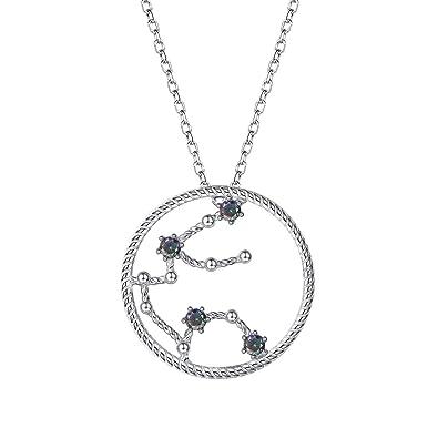 e9c27db89 SILVERCUTE Horoscope Constellation Jewelry Birthday Gift 925 Sterling  Silver Topaz Zirconia Zodiac Sign Pendant Necklace (