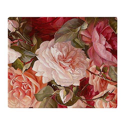 - CafePress Floral Pink Roses Soft Fleece Throw Blanket, 50