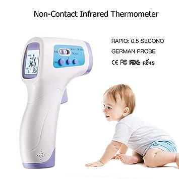 hylogy Termómetro infrarrojo digital con Fast precisa sin contacto, alta temperatura función de alarma para cuerpo y superficie de medición de objetos: ...
