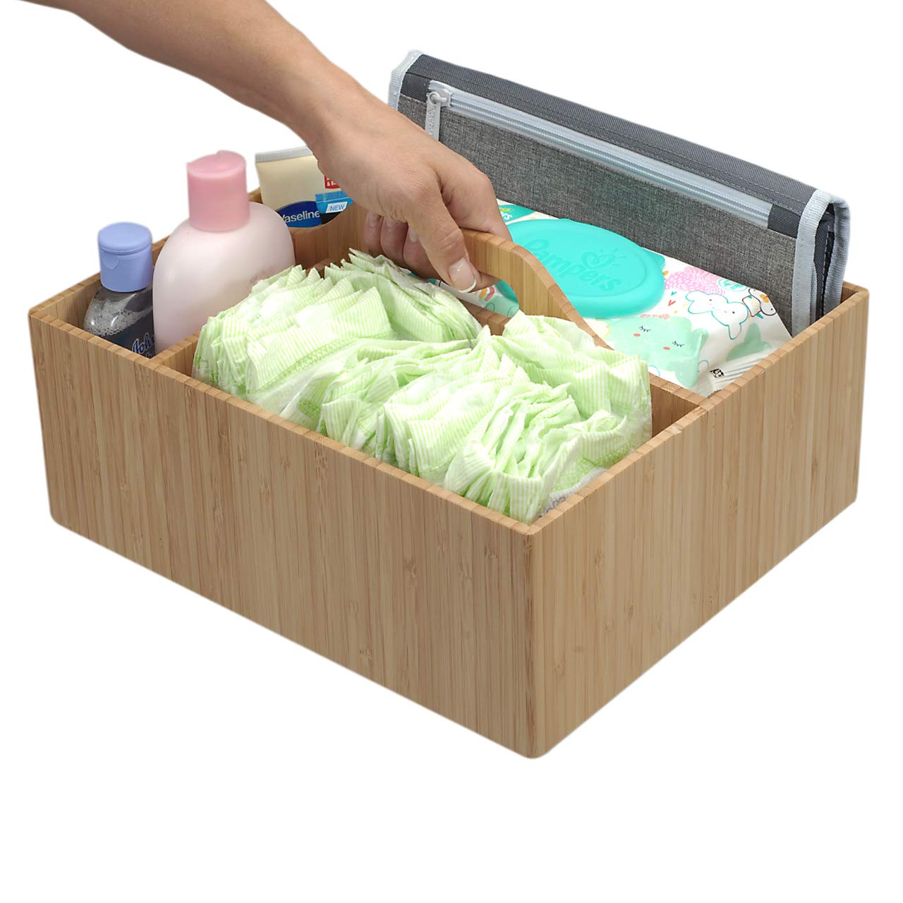 MobileVision Bamboo Diaper Caddy Organizer with Handle, 3 Sections, Portable Sturdy Carrier for Baby Changing Supplies, Diapers, Wipes, Creams and Other Essentials by MobileVision